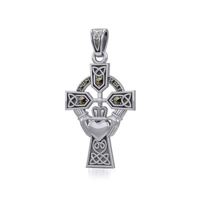 Celtic Cross and Irish Claddagh Silver Pendant with Marcasite TPD5341