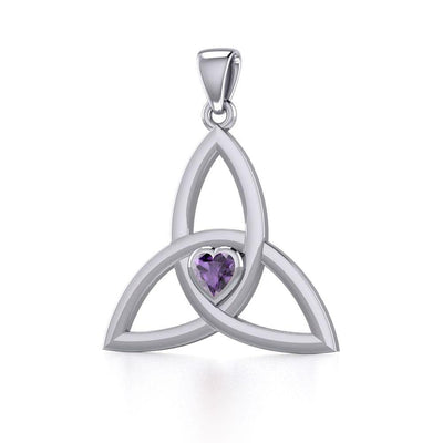 The Celtic Trinity Knot Silver Pendant with Heart Gemstone TPD5342