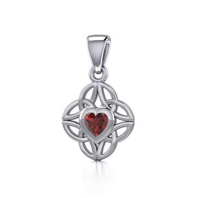 Celtic Knotwork Silver Pendant with Heart Gemstone TPD5353