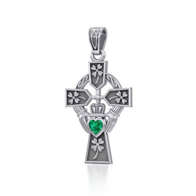 Claddagh Celtic Cross with Lucky Four Leaf Clover Silver Pendant TPD5359 Pendant