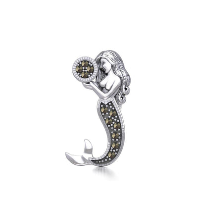 The Goddess Mermaid Silver Pendant with Marcasite TPD5364