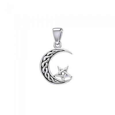 The Star on Celtic Crescent Moon Silver Pendant TPD5365