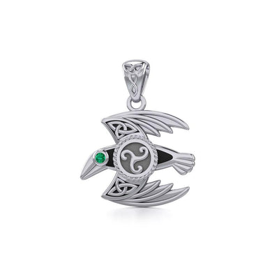 Behind the Mystery of the Mythical Raven Silver Jewelry Pendant with Gemstone TPD5381 Pendant