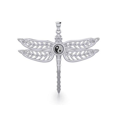 The Celtic Dragonfly with Yin Yang Symbol Silver Pendant TPD5387