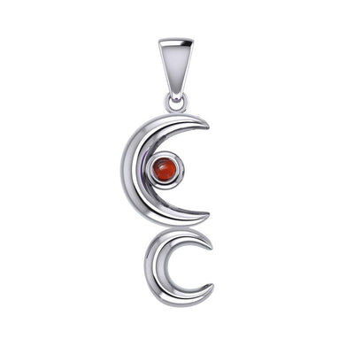 A Glimpse of the Double Crescent Moon Beginning Silver Pendant with Gems TPD5390