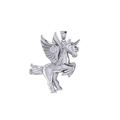 Mythical Unicorn Silver Pendant with Gemstone TPD5401 Pendant
