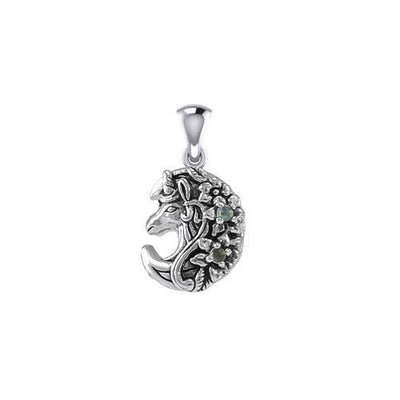 Mythical Moon Unicorn Silver Pendant with Gemstone TPD5406 Pendant