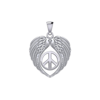 Feel the Tranquil in Angels Wings Silver Pendant with Peace TPD5455