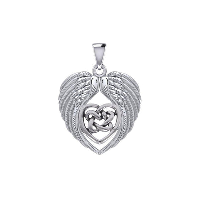 Feel the Tranquil in Angels Wings Silver Pendant with Celtic Heart TPD5458 Pendant
