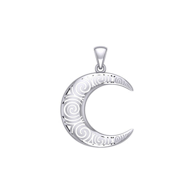 Spiral Crescent Moon Silver Pendant TPD5477