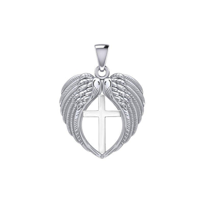 Feel the Tranquil in Angels Wings Silver Pendant with Cross TPD5481 Pendant