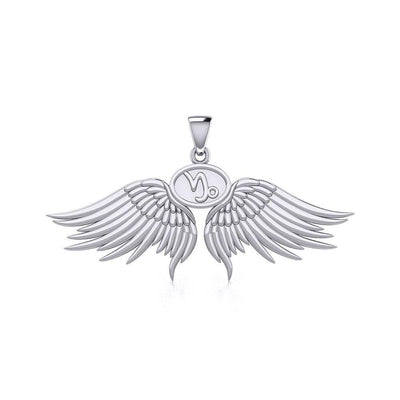 Guardian Angel Wings Silver Pendant with Capricorn Zodiac Sign TPD5512 Pendant
