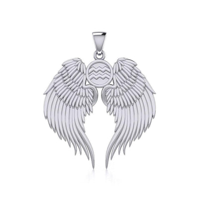 Guardian Angel Wings Silver Pendant with Aquarius Zodiac Sign TPD5495
