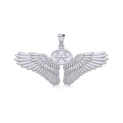 Guardian Angel Wings Silver Pendant with Pisces Zodiac Sign TPD5514 Pendant