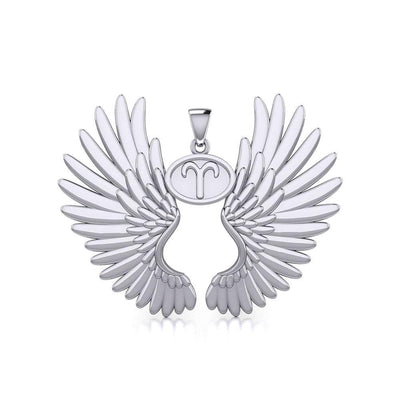 Guardian Angel Wings Silver Pendant with Aries Zodiac Sign TPD5497