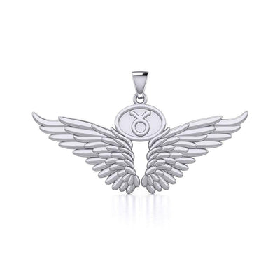 Guardian Angel Wings Silver Pendant with Taurus Zodiac Sign TPD5516 Pendant