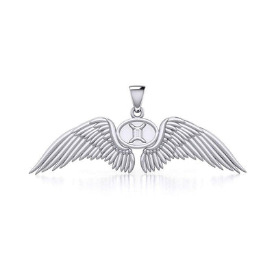 Guardian Angel Wings Silver Pendant with Gemini Zodiac Sign TPD5517 Pendant