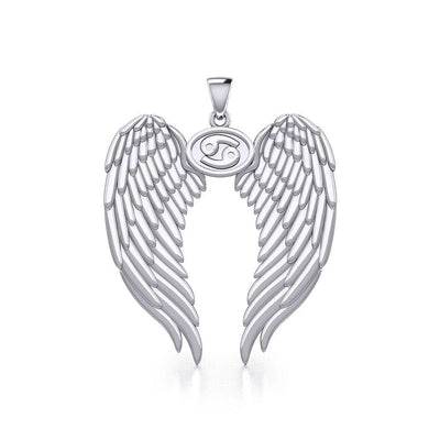 Guardian Angel Wings Silver Pendant with Cancer Zodiac Sign TPD5518 Pendant