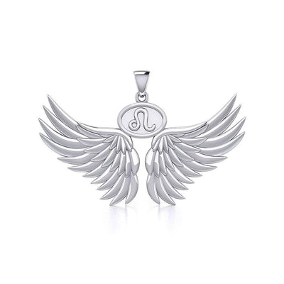 Guardian Angel Wings Silver Pendant with Leo Zodiac Sign TPD5519 Pendant