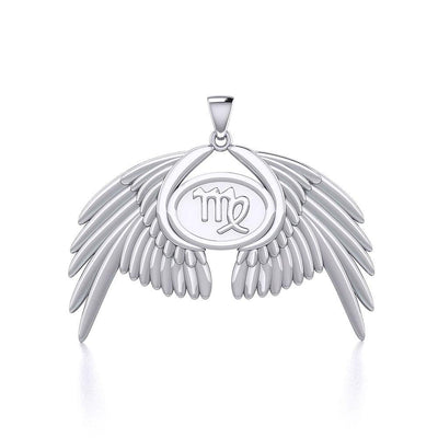 Guardian Angel Wings Silver Pendant with Virgo Zodiac Sign TPD5520 Pendant
