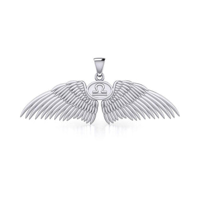 Guardian Angel Wings Silver Pendant with Libra Zodiac Sign TPD5521 Pendant