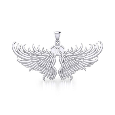 Guardian Angel Wings Silver Pendant with Scorpio Zodiac Sign TPD5522 Pendant