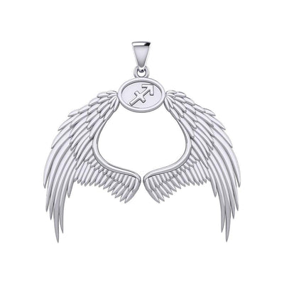 Guardian Angel Wings Silver Pendant with Sagittarius Zodiac Sign TPD5523 Pendant