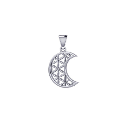 The Flower of Life in Crescent Moon Sterling Silver Pendant TPD5524 Pendant