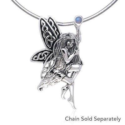 Fairy Holding Gem Silver Pendant TPD554