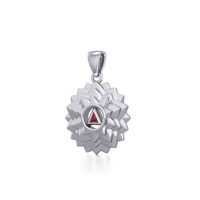 Crown Chakra with Recovery Gemstone Symbols Silver Pendant TPD5631