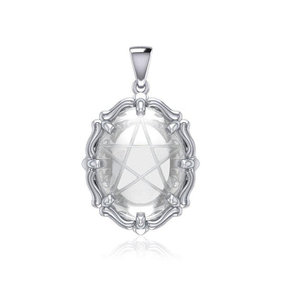 A Hidden Pentagram Sterling Silver Pendant with Natural Clear Quartz TPD5632 Pendant