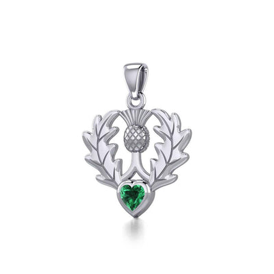 Thistle Silver Pendant with Heart Gemstone TPD5637 Pendant