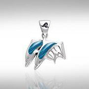 Silver and Paua Shell Twin Dolphin Pendant TPD584