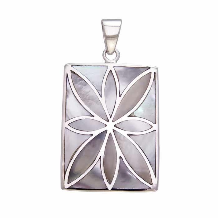 Flower Flat Cabochon Rectangle Pendant TPD593