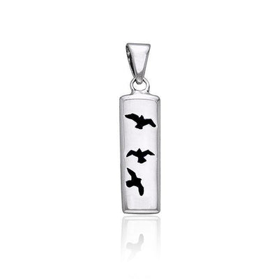 Flying Birds Cylinder Silver Pendant TPD594