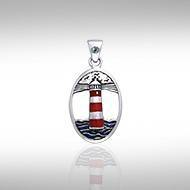 Lighthouse and Gem Silver Pendant TPD603