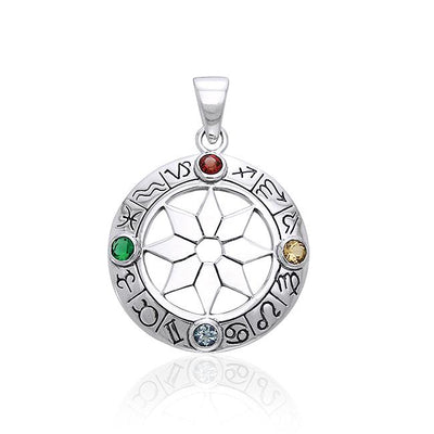 Zodiac Signs Silver Pendant with Mix Gems TPD827