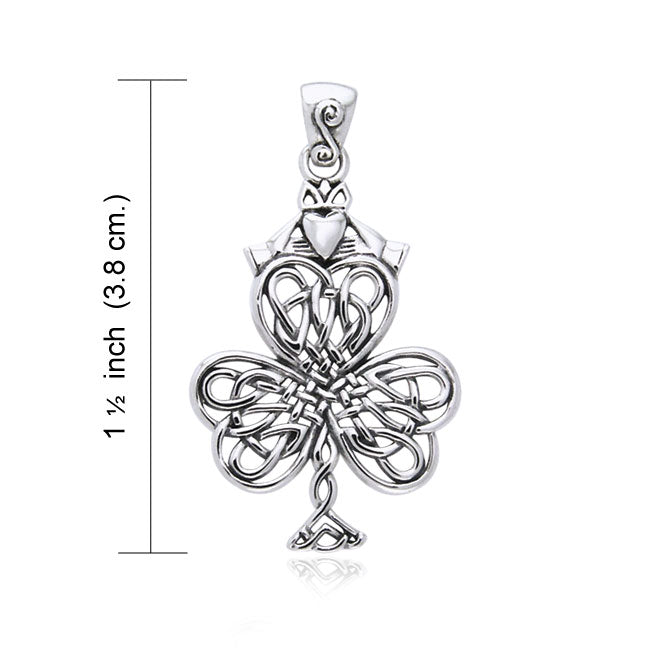 Celtic Knotwork Shamrock & Irish Claddagh Silver Pendant TPD957