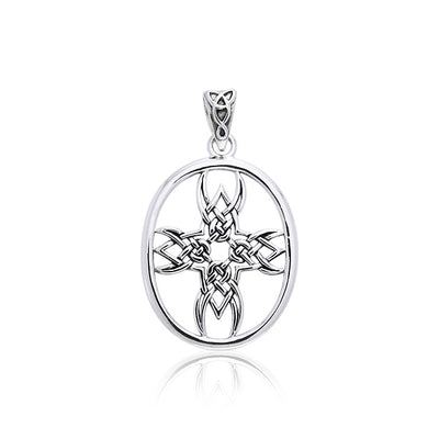 Celtic Knotwork Tribal Cross Silver Pendant TPD989