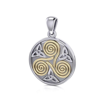 Celtic Three Single Spirals Triquetra Silver and Gold Pendant TPV346