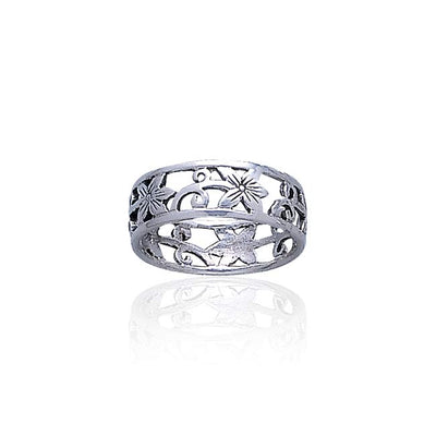 Silver Filigree Flower Ring TR073