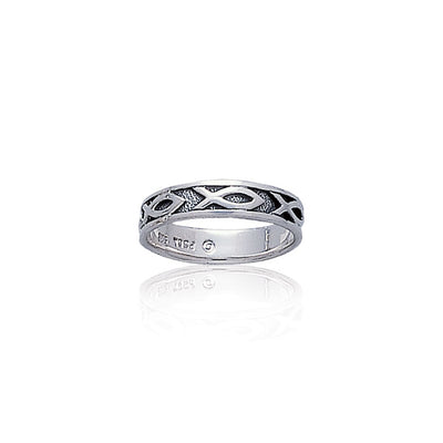 Ichthus Christian Fish Silver Band Ring TR1041