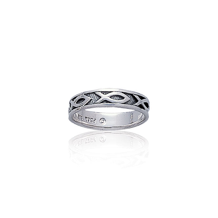 Ichthus Christian Fish Silver Band Ring TR1041 Ring