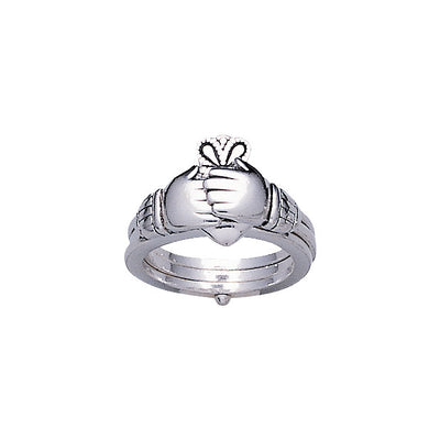 Irish Claddagh Silver Opened Friendship Ring TR1184