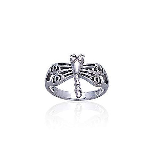 Dragonfly with Circles Silver Ring TR1326