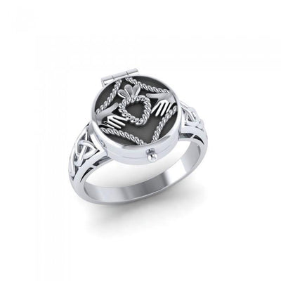Irish Claddagh Sterling Silver Poison Ring TR1358
