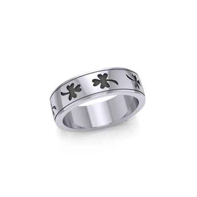 Celtic Shamrock Silver Band Ring TR1442