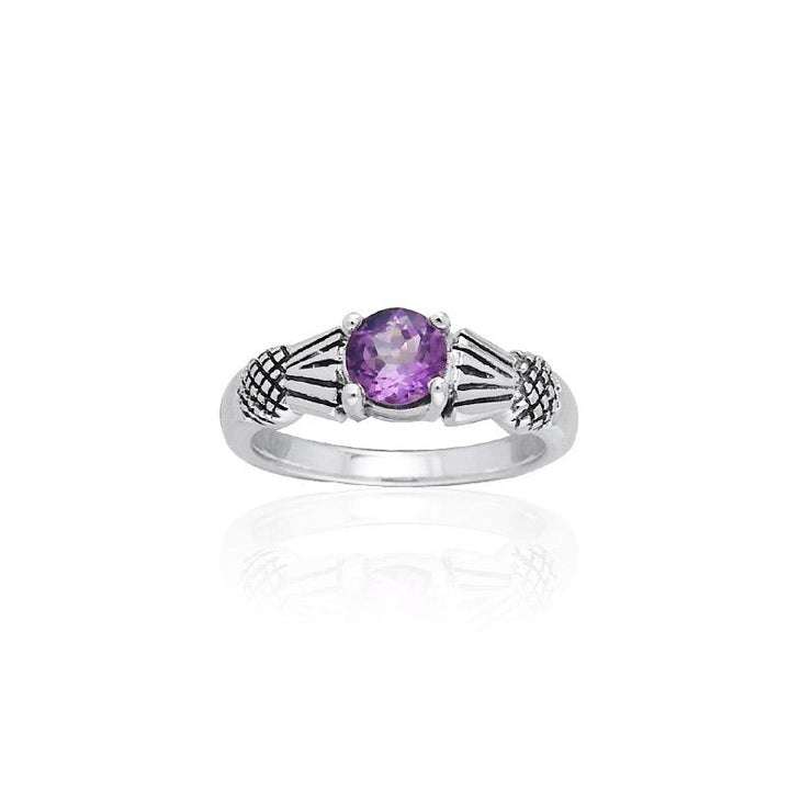 Thistle Silver Ring with Gemstone TR1653