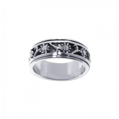 Silver Flower Spinner Ring TR1691