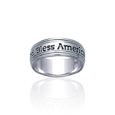 God Bless America Silver Band Ring TR1790 Ring